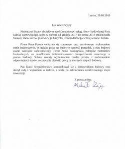 List referencyjny Lniska