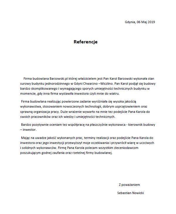 Referencje dla Barzowski_pl Budowa domu Gdynia Chwarzno
