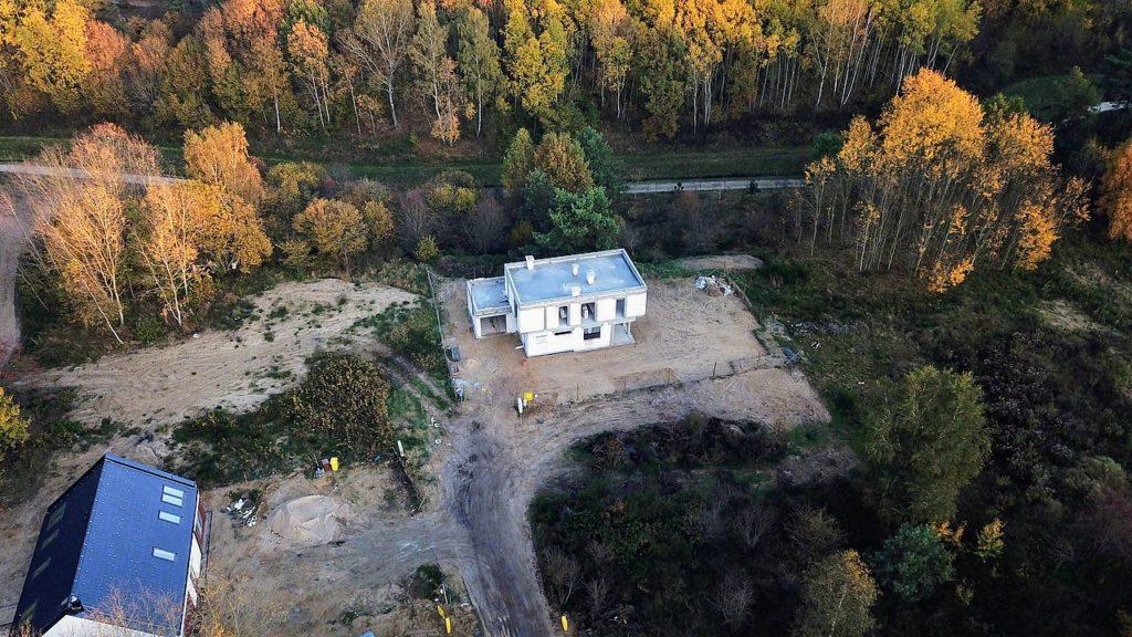 Budowa domu Kiełpinek Widok z drona 01