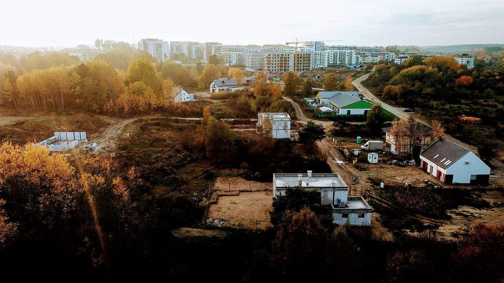 Budowa domu Kiełpinek Widok z drona 02