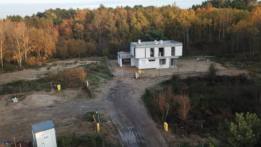 Budowa domu Kiełpinek Widok z drona 03